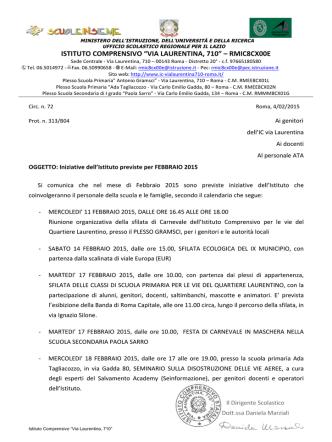 Circ. 72 - Iniziative Febbraio - Istituto Comprensivo Statale Via