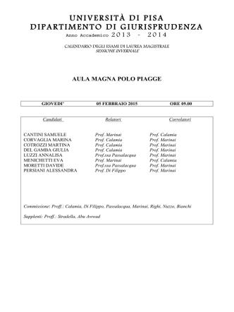 Calendario Laurea MagistraleFEBBRAIO2015
