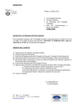 Consiglio 12 febbraio 2015 ore 18.30 -21