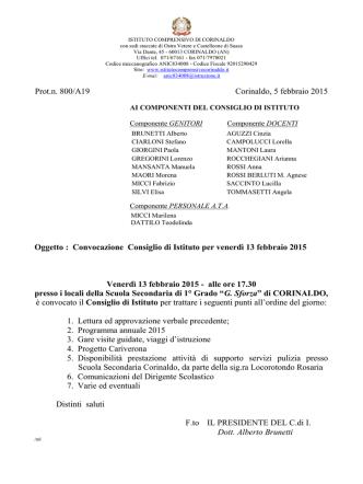Convocazione del Consiglio d`Istituto venerdì 13 febbraio 2015