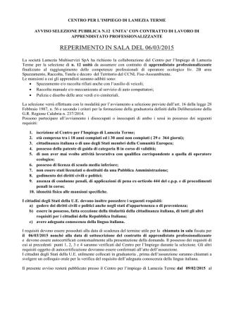 avviso selezione 09-02-2015