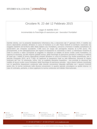 Circolare N. 23 del 12 Febbraio 2015