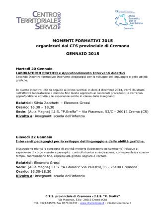 Calendario Formazione CTS solo 2015