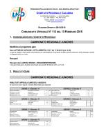 Comunicato Ufficiale n. 112 del 13 Febbraio 2015