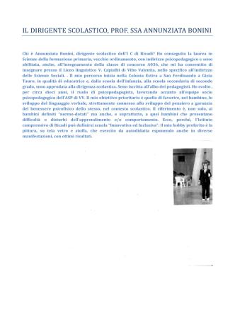Chi è il Dirigente Scolastico - Istituto Comprensivo di Ricadi