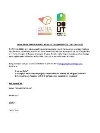 APPLICATION FORM ZONA SANTAMBROGIO design week 2015