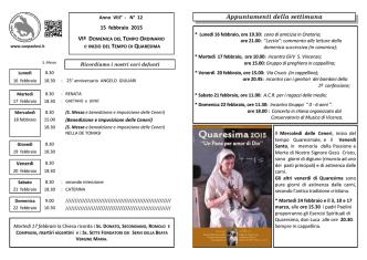 Appuntamenti della settimana - Parrocchia San Paolo Apostolo