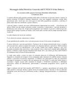Messaggio della Direttrice Generale dell`UNESCO Irina Bokova in