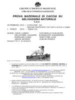 Locandina Prova di Lavoro Selvaggina Naturale Fiorano Modenese