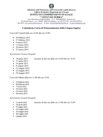 Calendario degli Incontri - Istituto Comprensivo Vito Volterra Ariccia