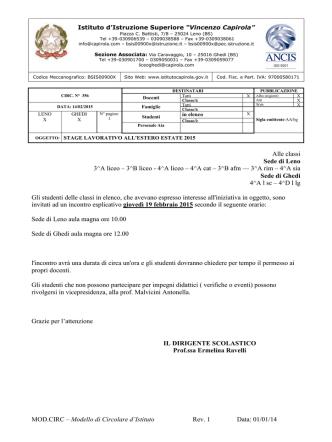 """circ356-2014-2015 - Istituto di Istruzione Superiore """"V.Capirola"""""""