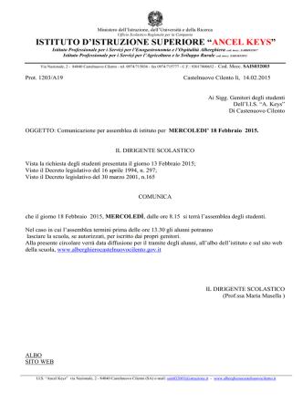 Allegato - Istituto d`Istruzione Superiore Ancel Keys di Castelnuovo