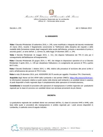 Decreto Prot. n. MIUR AOODRLO R.U. 235 del giorno 11 febbraio