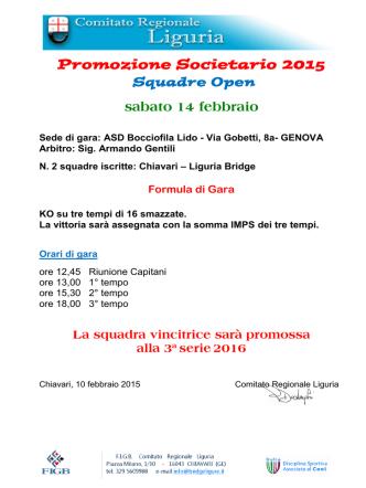 Circolare Campionato Promozione Societario a Squadre Open