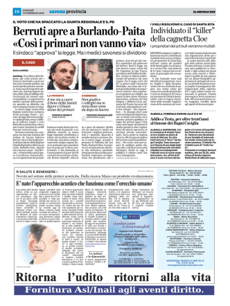 Berruti apre a Burlando-Paita «Così i primari non