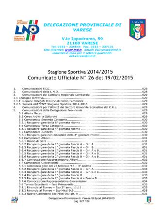 Comunicato Ufficiale N° 26 del 19/02/2015