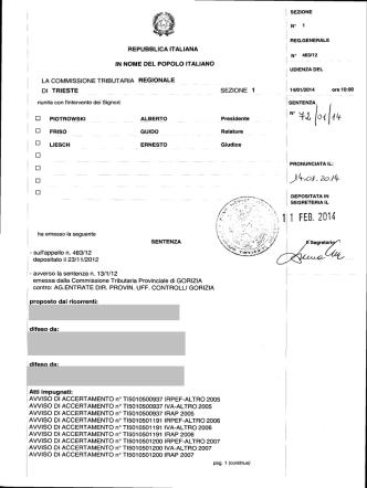 Commissione tributaria regionale Friuli Venezia Giulia, sez. I