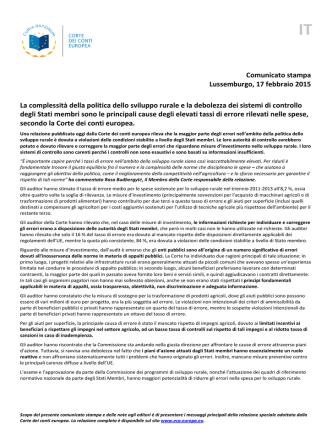 Comunicato stampa Lussemburgo, 17 febbraio 2015 La