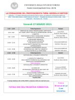 Venerdì 27 MARZO 2015 - Scuola di Medicina