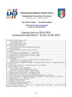 Comunicato Ufficiale N° 32 del 19/02/2015