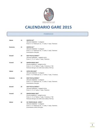 CALENDARIO GARE 2015 - Golf Club Ambrosiano