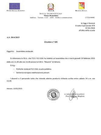CIR 103 2014-15 Assemblea sindacale CGIL