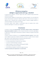 Efficienza energetica: obblighi e opportunità del D.Lgs. 102/2014 Il