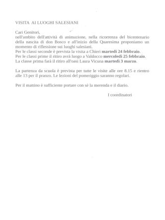 Cari Genieori, - Scuola don Bosco