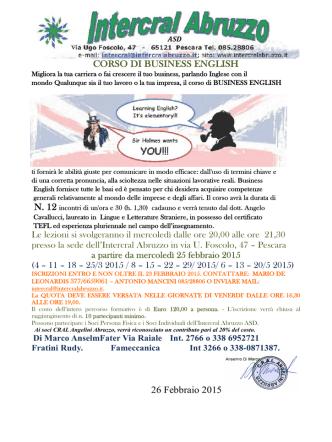 CORSO DI BUSINESS ENGLISH 26 Febbraio 2015
