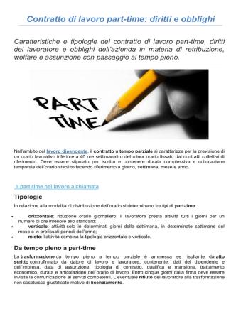 Contratto di lavoro part-time: diritti e obblighi