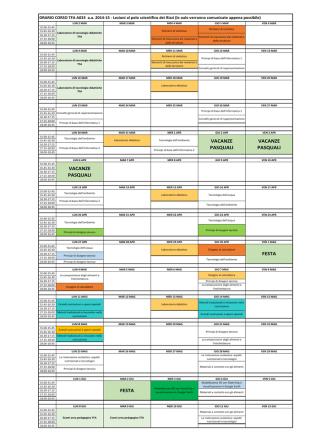 Calendario lezioni A033