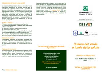 Cultura del Verde e tutela della salute