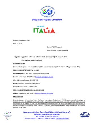 Circolare Coppa Italia di calcio a 5