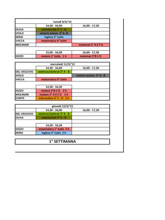 Calendario sede di Guidonia M