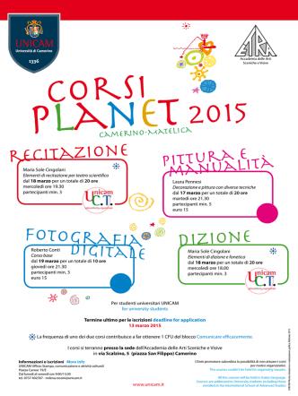 Corsi Planet 2015 attivati presso le sedi di Camerino e Ascoli