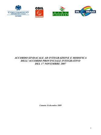 accordo sindacale ad integrazione e modifica dell