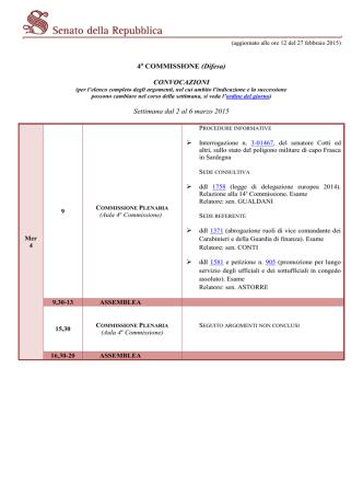 Convocazioni della Commissione Difesa