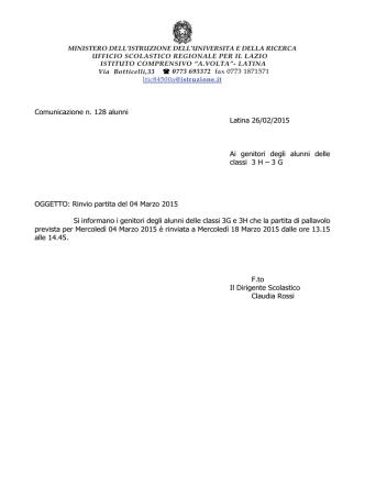 Comunicazione n. 128 RINVIO PARTITA DI PALLAVOLO DEL 04