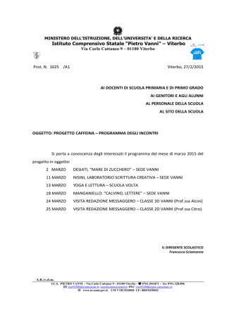 caffeina 2015 marzo programma - Istituto Comprensivo Statale
