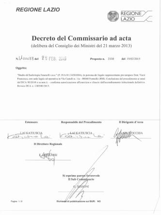 Decreto n. U00078 del 25 febbraio 2015