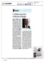 La Stampa La Banca punta sulla tecnologia Banca Aletti fa entrare