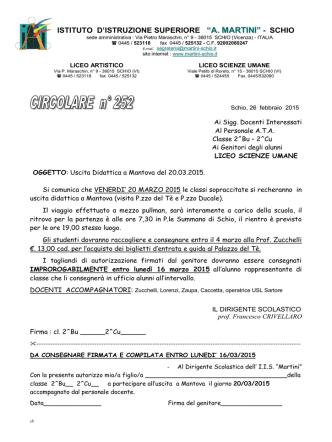 26/02/2015 CIRC._252 Uscita didattica a Mantova del 20
