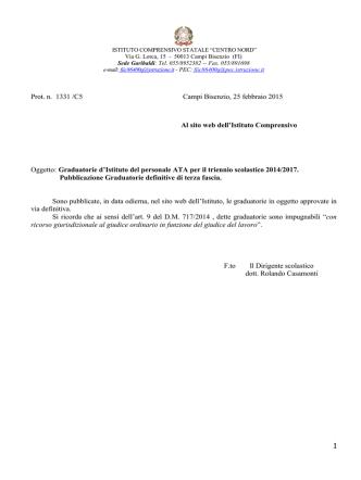 1 Prot. n. 1331 /C5 Campi Bisenzio, 25 febbraio 2015 Al sito web