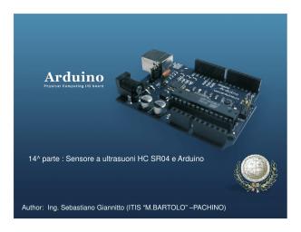 14^ parte : Sensore a ultrasuoni HC SR04 e Arduino