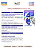 Notiziario settimanale n. 524 del 06/03/2015