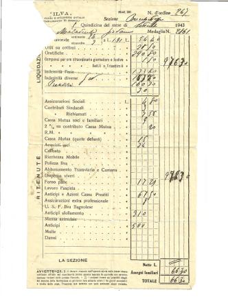 busta paga del 1943