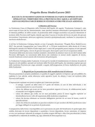 Avviso Progetto Borse Studio/Lavoro 2015