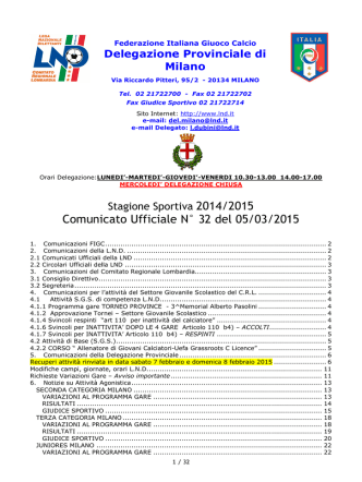 Comunicato Ufficiale N° 32 del 05/03/2015