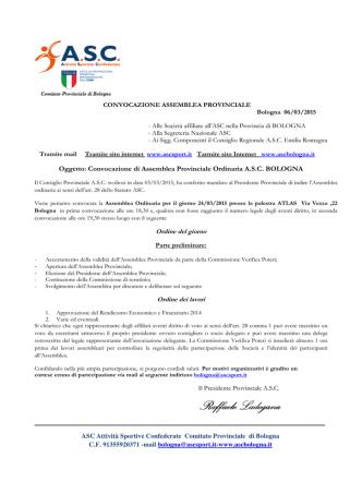 convocazione assemblea provinciale bologna