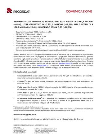 cda approva il bilancio del 2014. ricavi di € 987,4 milioni